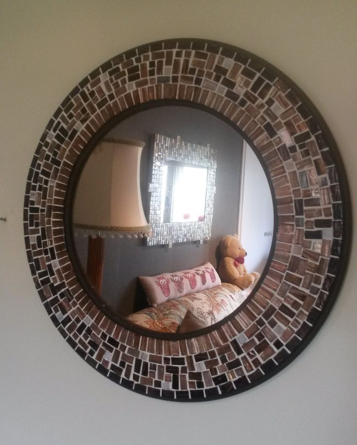round mosaic mirror made with love as a gift