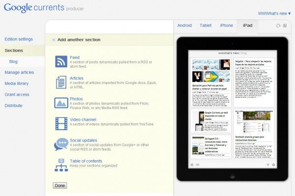Crear Google Currents