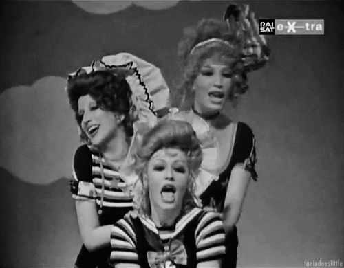 Monica Vitti, Mina Mazzini and Raffaella Carrà having fun on Italian TV