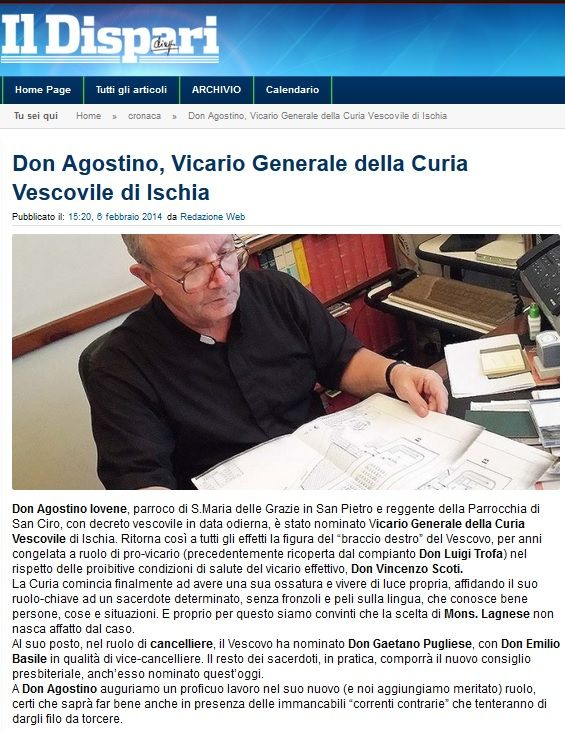 #IlDispari quotidiano Don Agostino Vicario Generale
