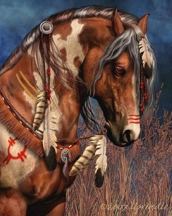 Native American Horse in Regalia :: Original Painting from Laurie Prindle