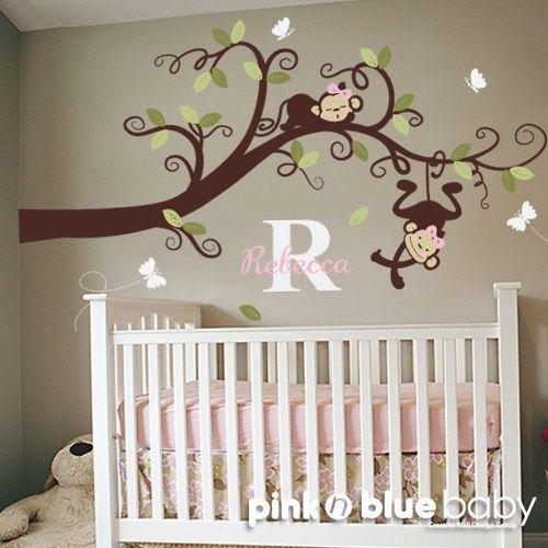 Baby Girl Nursery Decor : Branch Tree, Girl Monkeys and Custom Name -