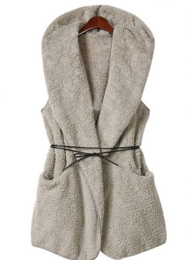 Exclusive Long Pattern Grey Waistcoats with Hooded Collar on sale only US$11.00 now, buy cheap Exclusive Long Pattern Grey Waistcoats with Hooded Collar at martofchina.com
