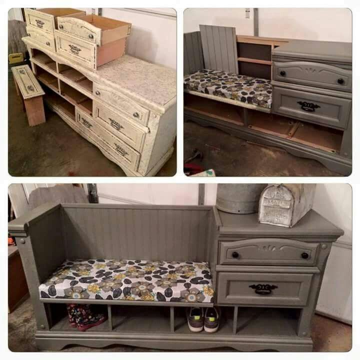 Good idea on how to convert an old dresser into cute functional storage and seating space. This would be great for a cheap yard or garage sale dresser find.