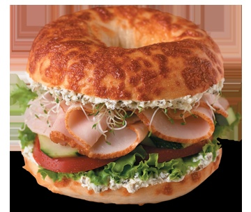 Seriously one of the best bagel sandwiches out there! #Einstein Bros' Signature Tasty Turkey! Asiago bagel, onion chive cream cheese, turkey, sprouts, cucumber, tomato and lettuce. YUM!