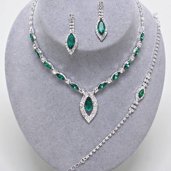 Bridal Prom Wedding Emerald Green Clear Crystal Silver Necklace Bracelet Set #uniklookcrystalcollection