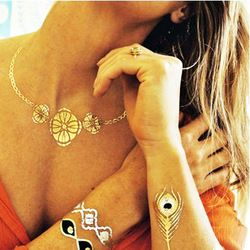 Online Shop Горячая распродажа водонепроницаемый золото флэш-тату, 16 дизайн доступны 23 * 15 см большой части металлик переводные татуировки временные вспышка татуировки|Aliexpress Mobile