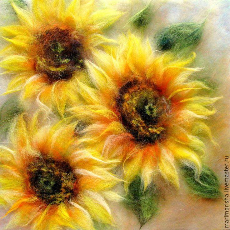 Купить Подсолнушки. Картина из шерсти, летняя цена - желтый, картина из шерсти, картины из шерсти