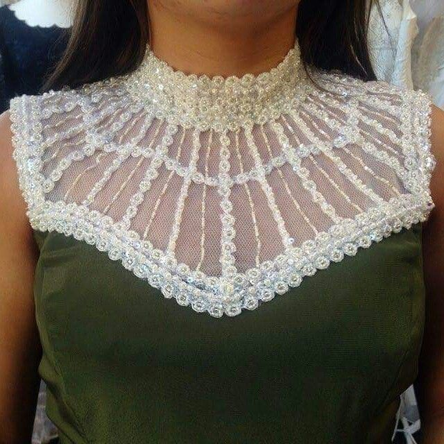 Hand beaded neckline by Geraldine O'Meara designs