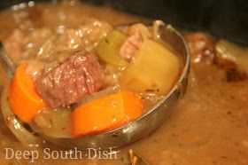 A creamy beef stew with potatoes, onion, carrot and celery and cooked in the slow cooker. Here it is served over rice, in the Deep South t...