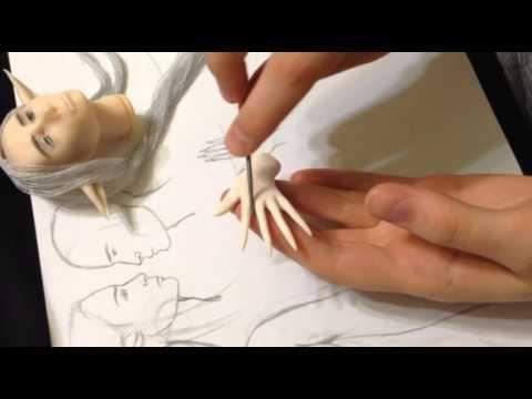 Бесплатный Мастер-класс по лепке лица куклы из полимерной глины . роспись лица авторской куклы - YouTube