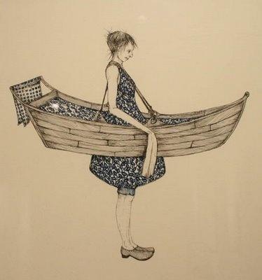 INSPIRATIE - Amy Cutler: versmelten met het voertuig, zonder het meisje komt de boot ook niet voor uit.