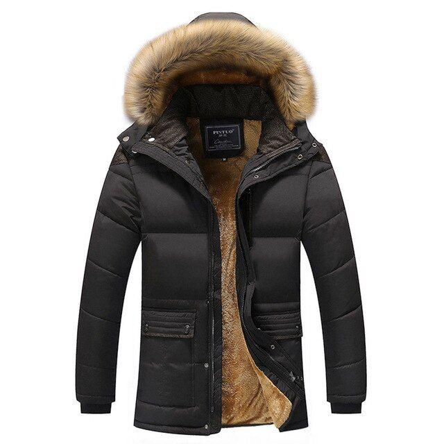 Mens Coat Fur Hood Coat Hoodie Jacket Parka Fleece Zip Up Warm Outwear Overcoat