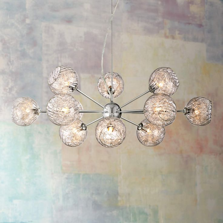 Possini euro wired glass and chrome 32 inch w chandelier euw6919