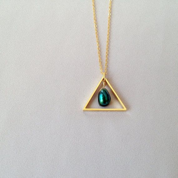 Scarab triangle necklace by LYNGjewelry on Etsy