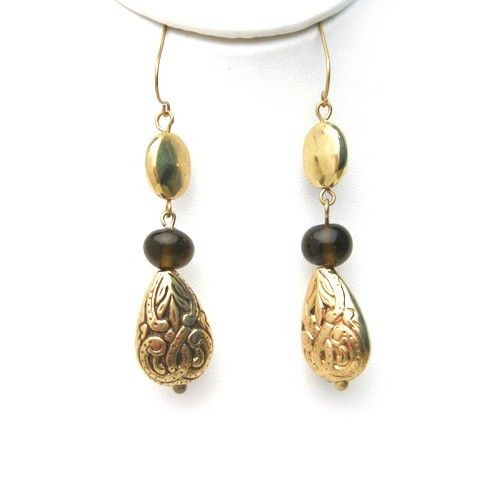 Fish Hook Earrings. Antique Gold Finish Engraved Pear Shape Beads