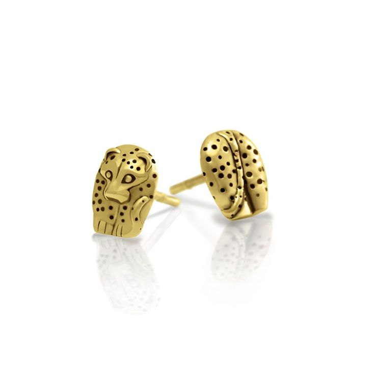 Gold African Leopard Earrings - part of a range of our Big 5 Animal Jewellery. Cute stylized solid gold African Leopard earrings. Cast in solid 9 carat yellow gold and finished with a special Rhodium Plating technique. Includes butterfly. #Leopard #earrings #GoldEarrings #AnimalJewellery #AnimalJewelry