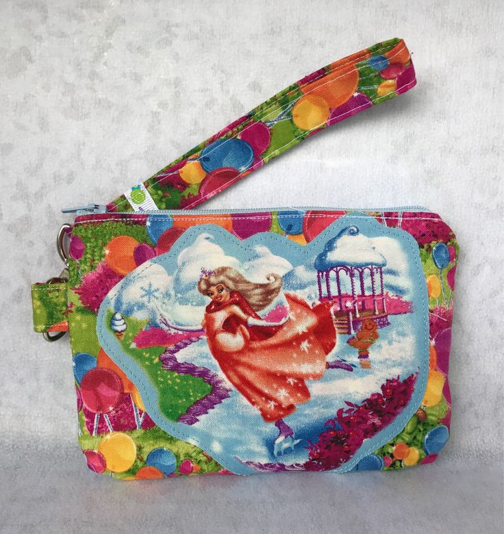 Candyland HTF Rare Girls Cotton Fabric Appliqué Zipper Wristlet, Lollipop Phone Wallet w/ Removable Strap and Interior Pockets by GoodyGumdropBoutique on Etsy