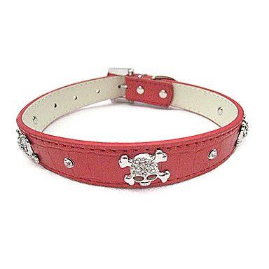 Justerbar PU Læder Rhinestone Skull Dekoration Collar for kæledyr Hunde (assorterede farver, størrelser) – DKK kr. 74