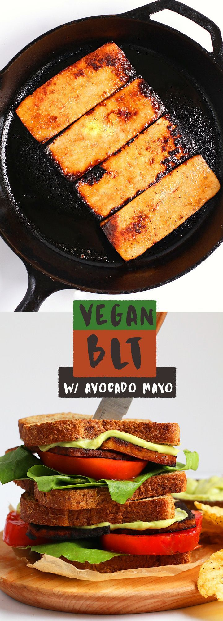 A healthy and plant-based twist on everyone's favorite sandwich, this vegan BLT is made with smoky tofu bacon and homemade avocado mayo.