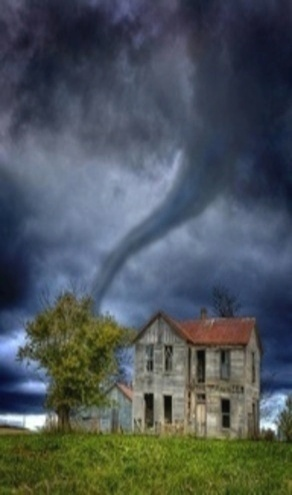 Tornado Over Old Farm House   I'm not coming till that tornado is gone, Old House, I don't care how loud you call!