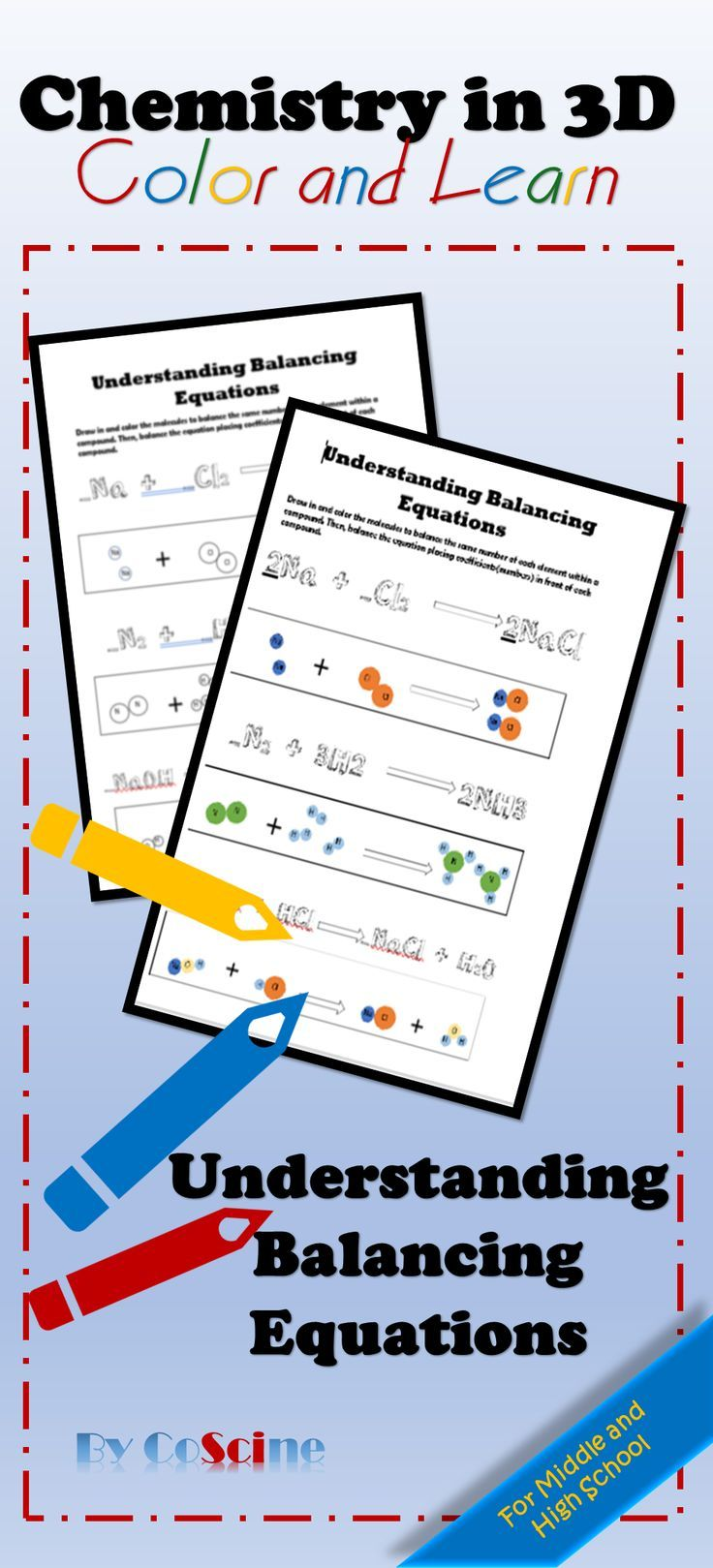 Engage Your Students By Showing Them How To Balance Chemical Equations By Seeing The Atom Chemical Equation Physical Science Middle School Chemistry Worksheets
