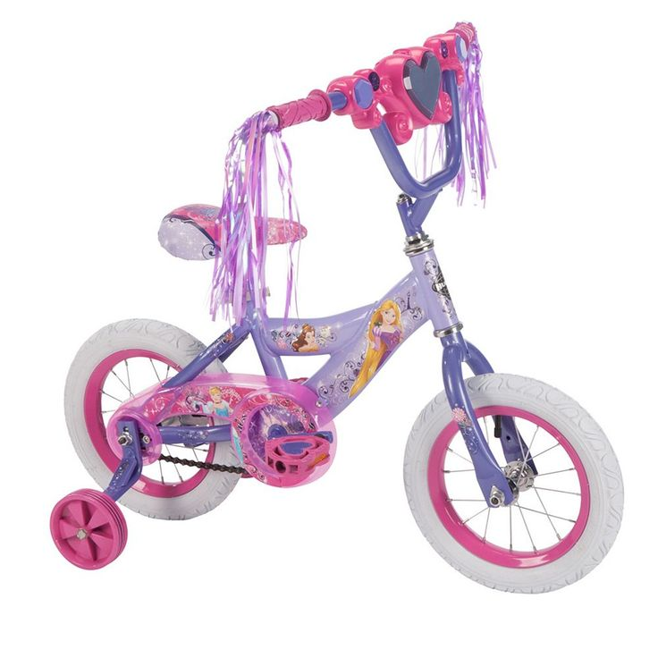 Disney Princess 12-Inch Tire Magic Mirror Bike with Training Wheels by Huffy, Purple