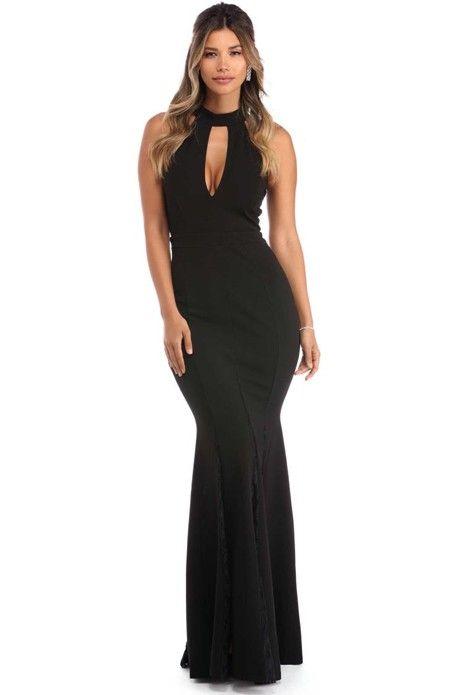 Sarah Black Lace Godet Gown | WindsorCloud