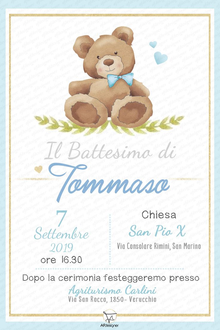 Digital Baptism Party Invitation BABY BEAR, Printable
