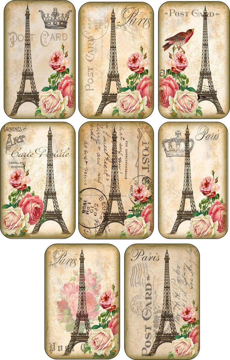 Vintage Eiffel Tower Roses Tags. Etiquetas Tour Eiffel rosas imprimibles.