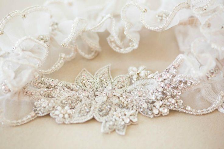 Off White Organza Wedding Garter Set