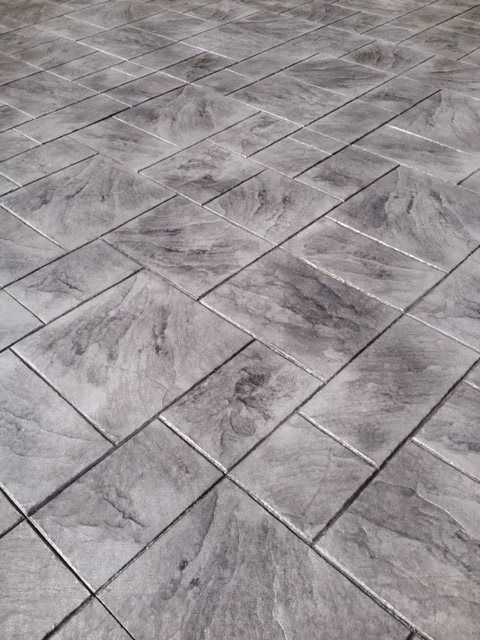 Large Ashler Grey Color Stamped Concrete Patterns And