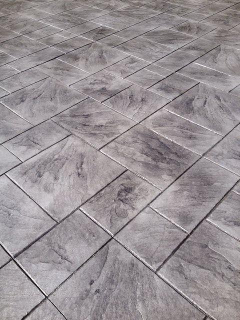 large ashler grey color  Stamped concrete patterns and