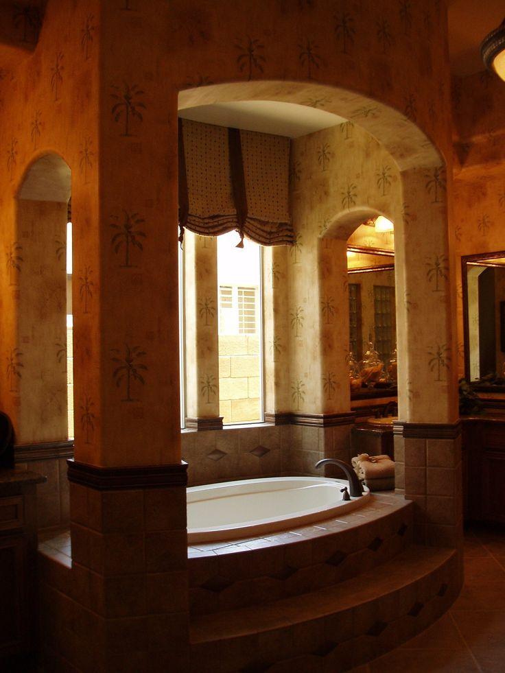 Bathroom, Oval White Porcelain Single Bathtub Beige Stiletto Wall Design  Beige