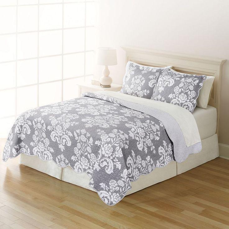 Home Classics® Sarah Gray Damask Quilt, Brt Green