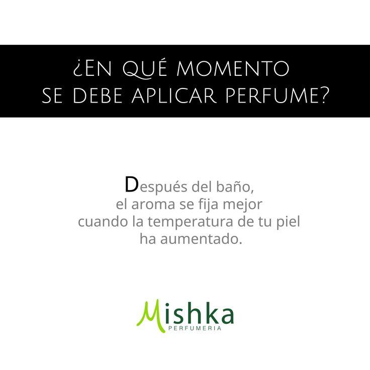 ¿En qué momento se debe aplicar #Perfume? Después del baño, el aroma se fija mejor cuando la temperatura de tu piel haya aumentado.  #Tips #Consejo #MishkaPerfumería