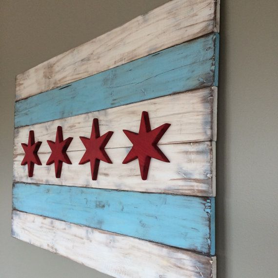 Rustic Chicago Flag on Etsy, $275.00