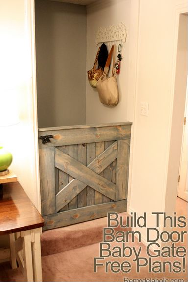 How To Build a Barn Door Baby Gate - keep the dog away from the cat food