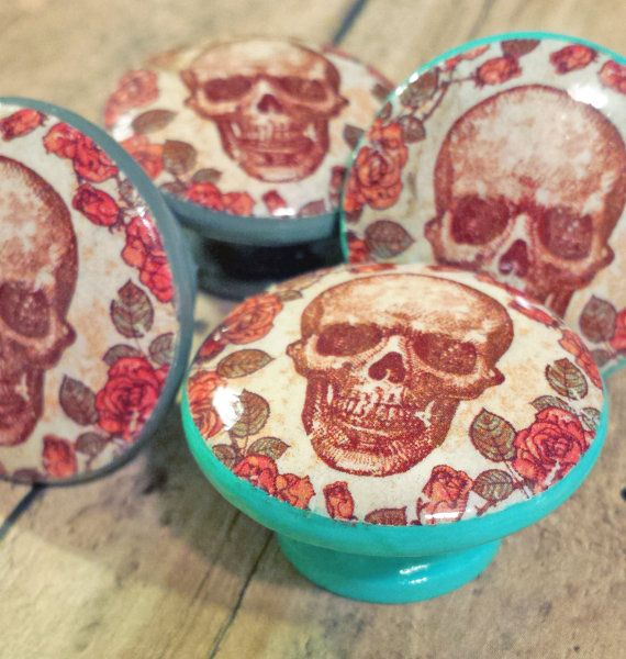 Skull and Roses Knob Drawer Pulls, Handmade Floral Cabinet Pull Handles, Skeleton Dresser Knobs, Spooky and Beautiful Knobs, Made to Order #skullandroses #skullknobs