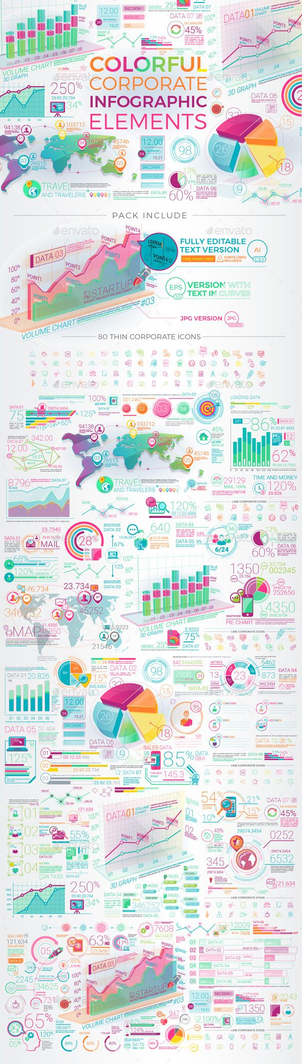 Colorful Corporate Infographic Elements - Template Vector EPS, AI Illustrator