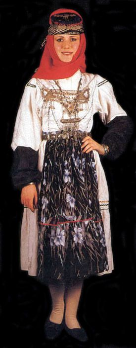 Traditional bridal costume (rural) from the province of Ağrı.  Kurdish, mid-20th century.