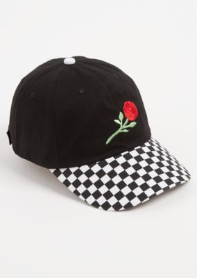 Checkered Rose Embroidered Dad Hat  5bc8282a1734