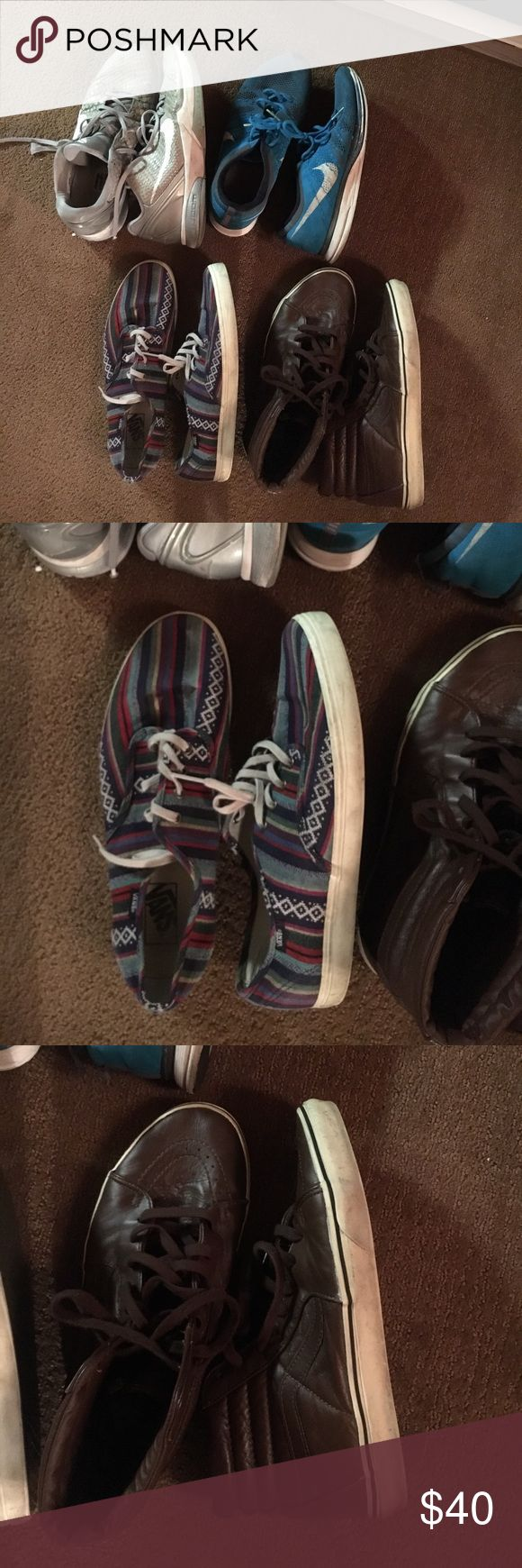 Men's shoe Bundle size 11 *MAKE OFFER* Men's shoe Bundle. (1) pair Nike Kobes. (1) pair Nike Flyknit trainer. (1) low top tribal vans. (1) pair high top brown vans. All size size 11 except kobes are 11.5. Nike Shoes Sneakers
