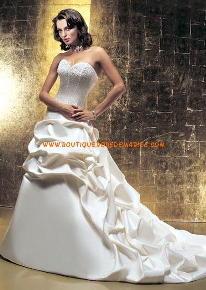 Robe de mariée de luxe à bustier robe froncée