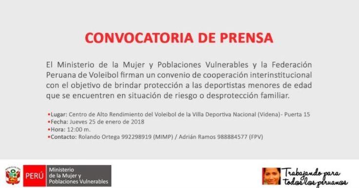 FEDERACIÓN PERUANA DE VOLEIBOL FIRMARÁ CONVENIO CON EL MINISTERIO DE LA MUJER