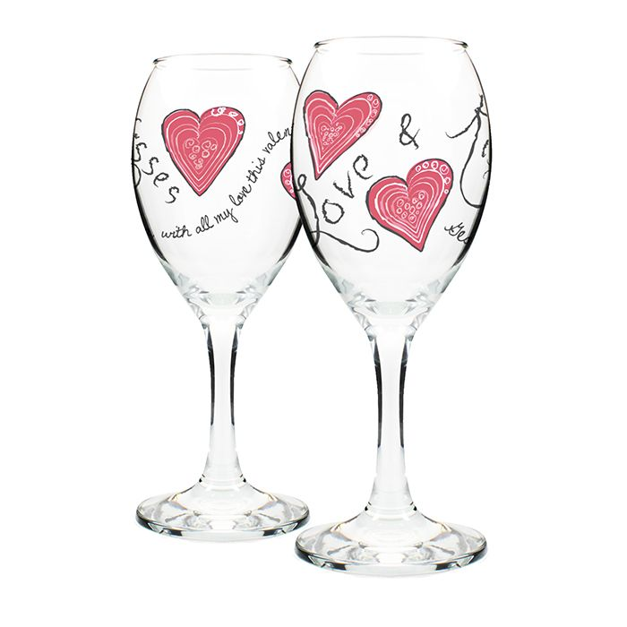 A range of 'Love and Kisses' glasses available on www.bubbleboxdirectcom