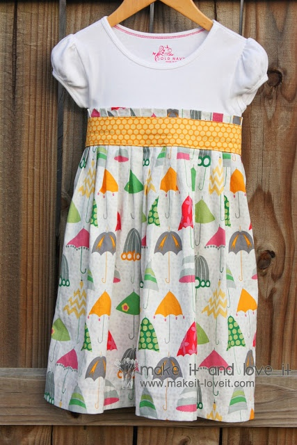 Re-Purposing: T-Shirt into Dress | Make It and Love It --- used our fabric Rainy Days and Mondays!