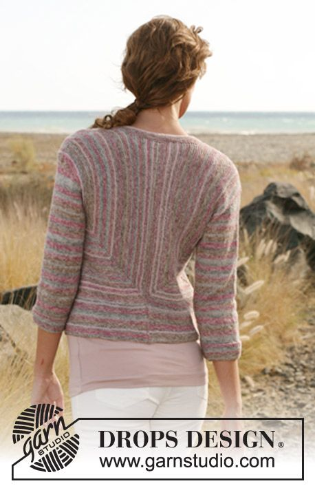 "Knitted DROPS jacket in garter st and stripes in ""Fabel"" and ""Alpaca"". Size: S - XXL. ~ DROPS Design"
