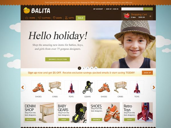 Free E-Commerce WordPress Theme: Balita    In this post we release yet another freebie: the Balita WordPress theme, a theme dedicated to shops that sell products for children. The theme was designed by Tokokoo and released exclusively for Smashing Magazine and its readers. As usual, the theme is absolutely free to use for both private and commerical projects.