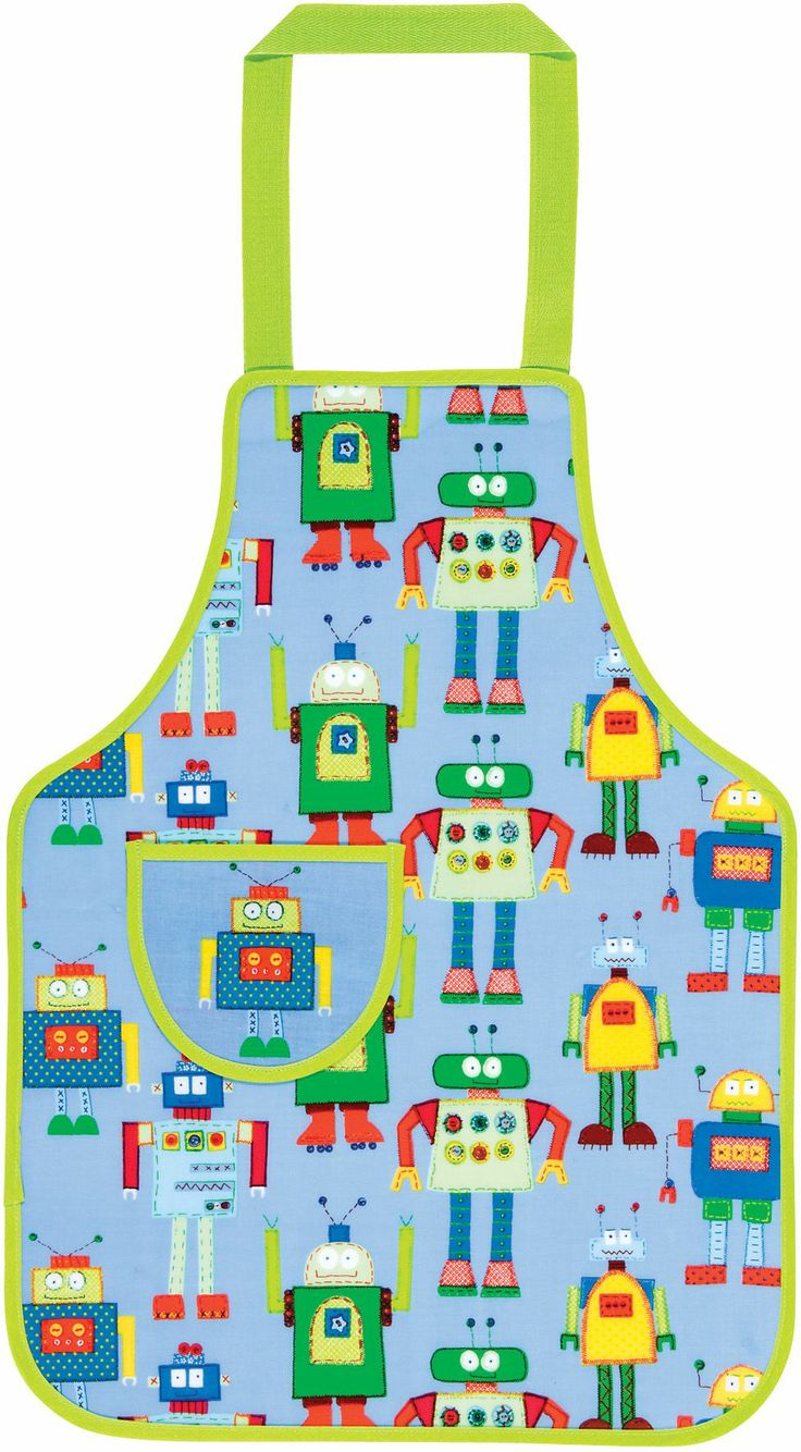 Keep the kids clean in the kitchen with this bright and quirky robots apron.